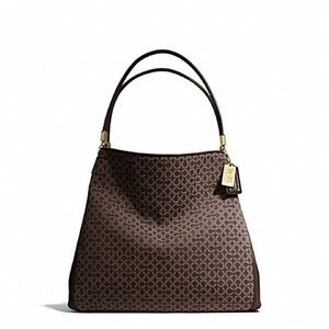 Coach Madison Phoebe Needlepoint Op Art Brown NWT